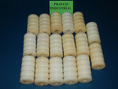 """Lot of 17 Plastic 4 Groove Guide Conveyor Rollers 3.4375""""Length .5""""ID 1.875""""OD"""