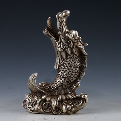 Collectible Chinese Miao Silver Handwork Carved Dragon Statue Xuan De Mark