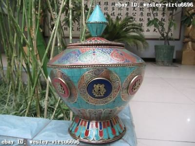 Nepal Copper inlay turquoise & coral BaBao jar Pot Vase