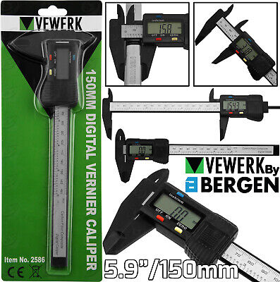 "BERGEN Digital Vernier Caliper 6"" 150mm Vernier Gauge Micrometer Measuring Tool"