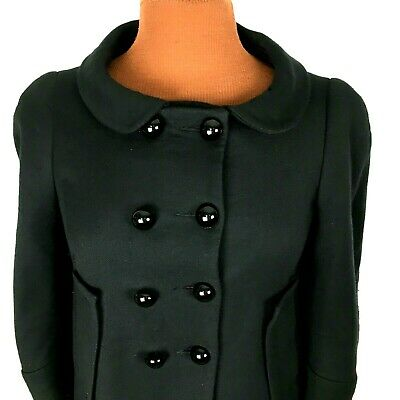 fe6fca52 Zara Basic Womens Coat Small S Black Button Wool Blend Lined Double Breasted