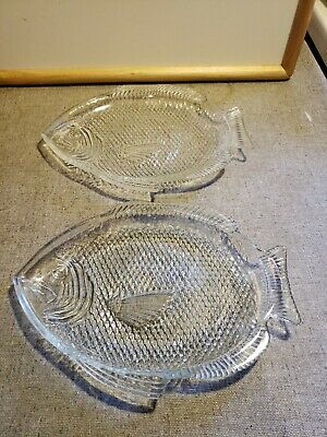 Vintage Clear Glass Fish Shaped Serving Dish Platter Plate Oven Proof USA (2)