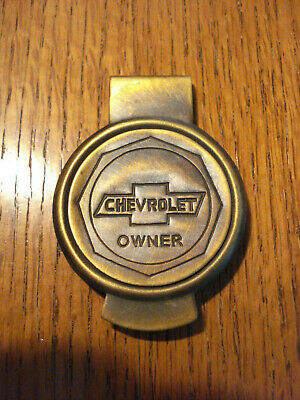 Chevrolet OWNER  solid brass Money clip with Antique Patina round emblem #lg