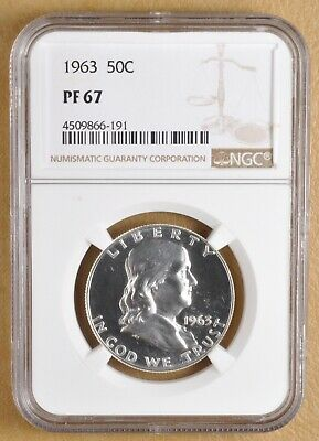 1963 Proof Franklin Silver Half Dollar NGC PF 67