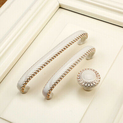 Zinc Aolly White Cabinet Handles Kitchen Cupboard Door Pulls Drawer Knobs shan