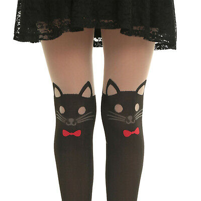 3db2135cfb276 Hot Topic Love Sick Kitty Cat Design Faux Thigh High Tights Red Bow In Sm  Only