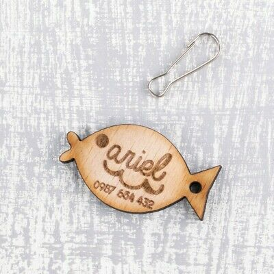 Personalised Engraved Wooden Pet ID Collar Tags Cat Dog 30mm Fish Shape Tag