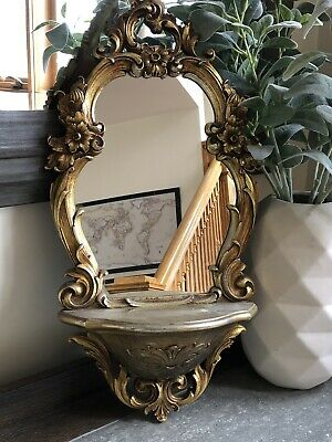 VTG 1970 Dart Syroco Gold Wall Mirror With Shelf #2327 HOLLYWOOD REGENCY