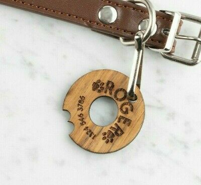 Personalised Engraved Wooden Pet ID Collar Tags Cat Dog  35mm Donut Shape Tag