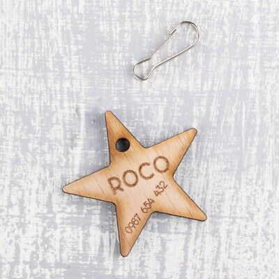 Personalised Engraved Wooden Pet ID Collar Tags Cat Dog  30mm Star Shape Tag