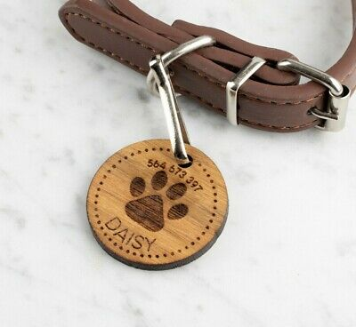 Personalised Engraved Wooden Pet ID Collar Tags Cat Dog  35mm Paw Print