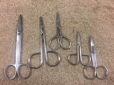 Lot of 5 Vintage Small Ornate Sewing Scissors-ROKER USA- & GERMANY- LOOK  B71a
