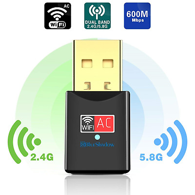 Blueshadow USB Wifi Adapter 600Mbps Dual Band 2.4G/5G Mini Wi-fi Wireless Dongle
