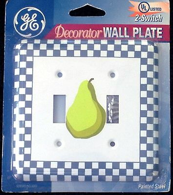 Wall Double Light Switch Plate Cover Pear Design Steel GE New Free USA Shipping