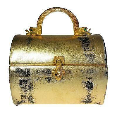 Arnold Scaasi for Meyers Gold Egyptian Revival Purse w Serpent Handle Faux Gem