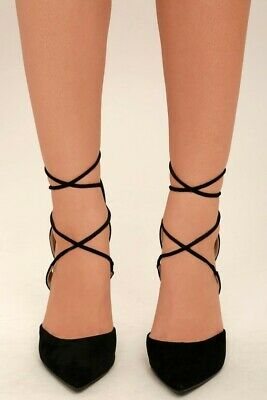 59583620a69 LULUS BLACK SUEDE Lace-Up Heels- New & Sexy!!
