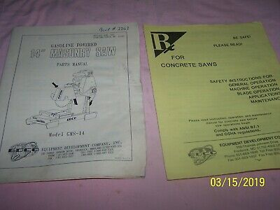 "1995 EDCO 14"" Gasoline Powered Masonry Saw Parts Manual GMS-14"