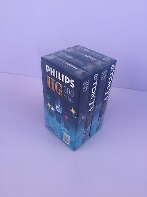 2 x PHILIPS HG 200 minute VHS Tapes + 2 x TDK 180 minute NEW & SEALED