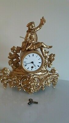 Antique French Gilt Ornate Mantel Clock. Timepiece only, with tic tac movement.