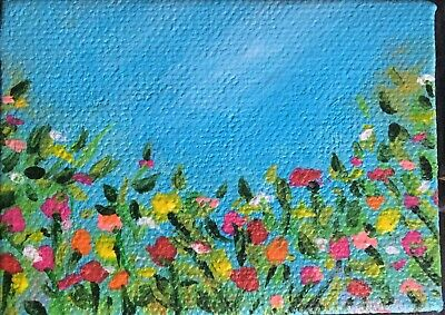 Aceo~Spring Flowers~ Original Acrylic Painting~Artist