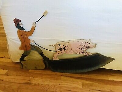 """Antique Vtg Iron 35"""" French Butcher Pig Painted Advertising Primitive Trade Sign"""