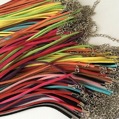 10 Faux Suede Effect Cord Necklaces Mixed Colour 18 inch for jewellery making