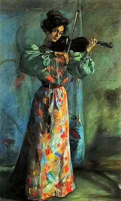 Oil painting lovis corinth - Young female portrait the violinist playing canvas