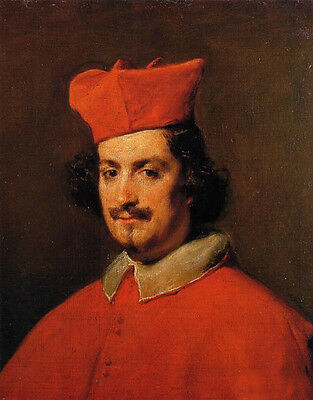 Huge Oil painting Diego Velazquez Cardinal Camillo Astalli wearing red hat cloth