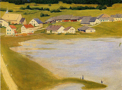 Oil painting Félix Vallotton - The Coal Scuttles village landscape by river art