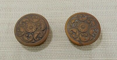 Lovely pair of 2 vintage copper tone stamped metal round pillboxes