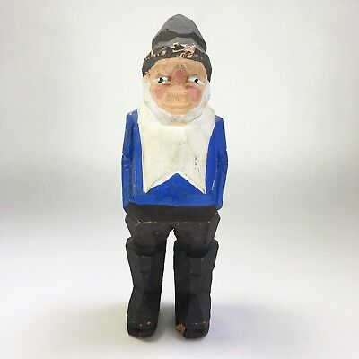 Vtg Rustic Hand Carved Fisherman Sailor Nautical Painted Wood Figurine 7 1/4""