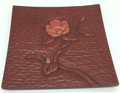 Plate Tray Flower Japanese Wood Lacquer Kamakura carving Square  Signed