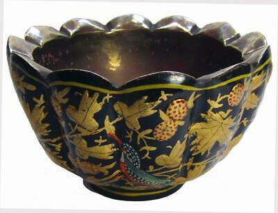 Kashmir Lacquer Painted Paper Mache Brass Lined Bowl 5 x 8.5 cm