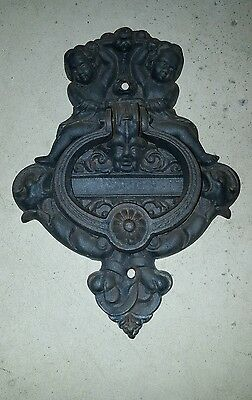 Door Entry Foyer Knocker Bell Cast Iron Vintage Angels Cherubs
