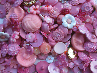 11mm - 38mm Fancy Pink Tones Mixed Bulk Lot 35+ Craft Sewing  Buttons 50gm