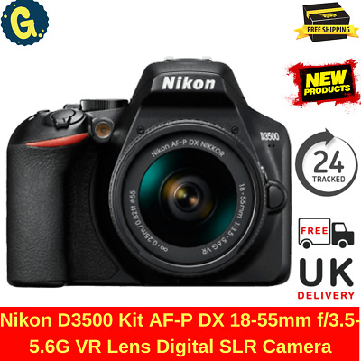 New NIKON D3500 Digital SLR Camera + AF-P DX 18-55mm f/3.5-5.6G VR Lens Black UK