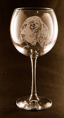Etched Gordon Setter on Large Elegant Wine Glasses - Set of 2