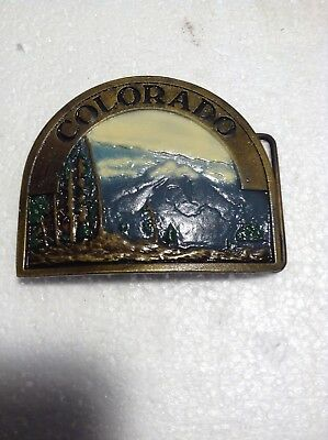 Vintage Colorado Brass Belt Buckle By Indiana Metal Craft 1976 NICE