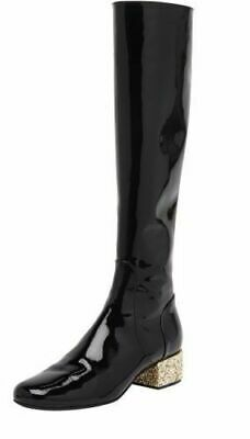 111a4e2335e9 $1495 YVES SAINT LAURENT BABIES BLACK PATENT LEATHER GOLD GLITTER HEEL BOOTS  Sz7