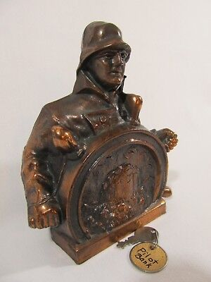 Vintage Pilot Life Insurance Co Bronze Sailor at Ship's Wheel Coin Bank with Key