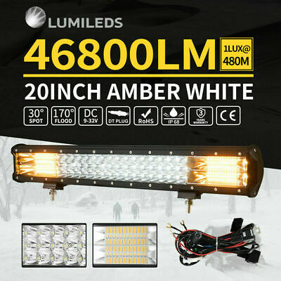 20INCH Philips LED Light Bar 3Row Combo Amber White Work Driving Offroad 4WD 23""