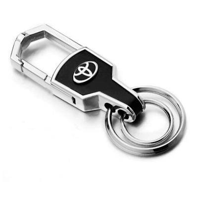 Double Ring Car Logo Metal Leather Key Chains Keychain Silver keyring for Toyota