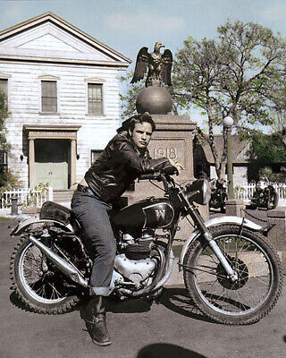 "MARLON BRANDO THE WILD ONE 1953 ACTOR MOTORCYCLE 8x10"" HAND COLOR TINTED PHOTO"