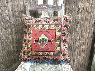 """Kilim Cushion Wool Cotton Square Cover Handmade 20/""""x20/"""" Moroccan Indian Persian"""