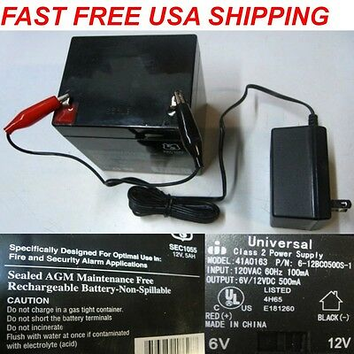 12V 5 AMP Sealed Maintenance Free Rechargeable Battery & Charger 4 DEL Kit kits
