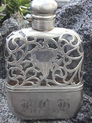 Antique Ornate Sterling Silver Heavy Overlay On Glass Flask-Alvin 1907