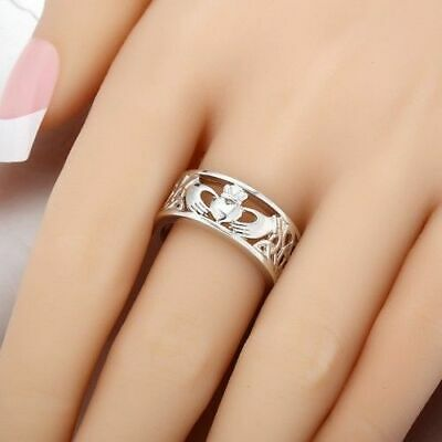Irish Claddagh Celtic 925 Silver Care Heart Forever Wedding Bridal Ring Size6-10