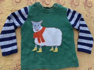 Mini Baby Boden Boys Sweater Striped Sheep Lamb Sweater Appliqué Sz 2-3 Years