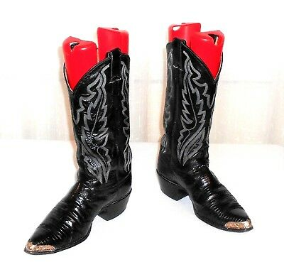Justin 8311 Leather Iguana Lizard Western Boot Alpaca Nickel Silver Toe Tip 7.5D