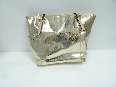 b7164638e542 Michael Kors MK Jet Set Grab Bag Tote Signature Metallic Mirror Gold Purse